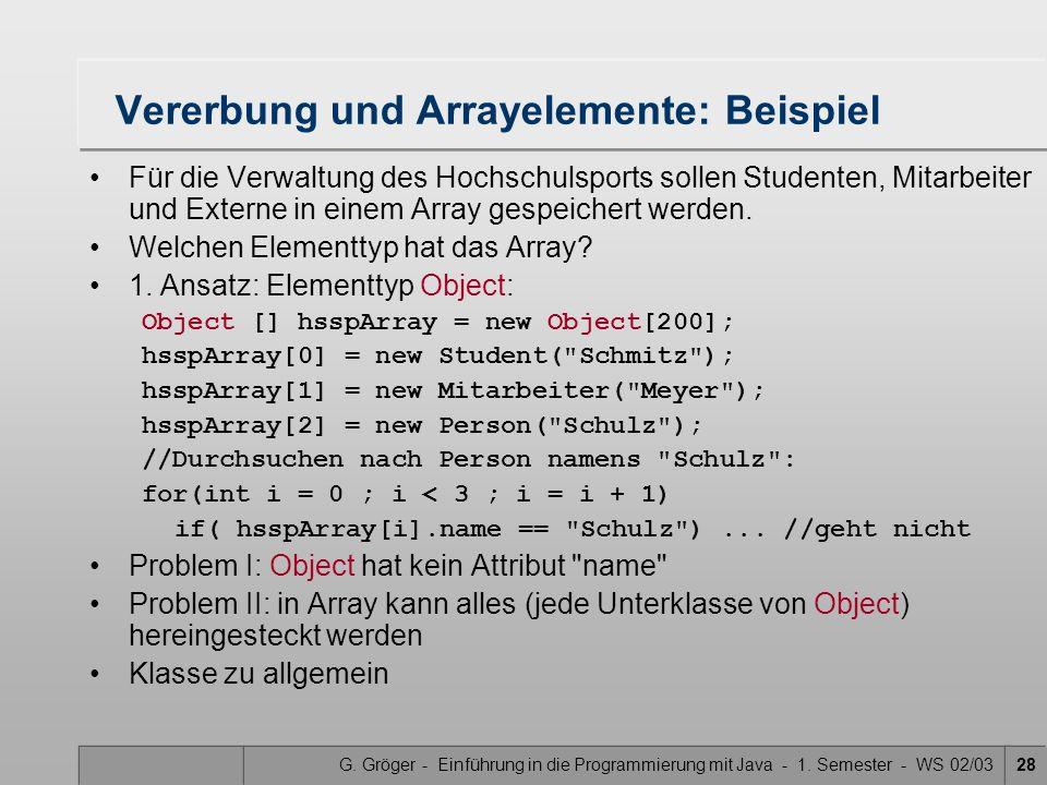 G. Gröger - Einführung in die Programmierung mit Java - 1. Semester - WS 02/0328 Vererbung und Arrayelemente: Beispiel Für die Verwaltung des Hochschu