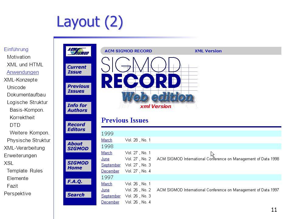 11 Layout (2) Einführung Motivation XML und HTML Anwendungen XML-Konzepte Unicode Dokumentaufbau Logische Struktur Basis-Kompon. Korrektheit DTD Weite