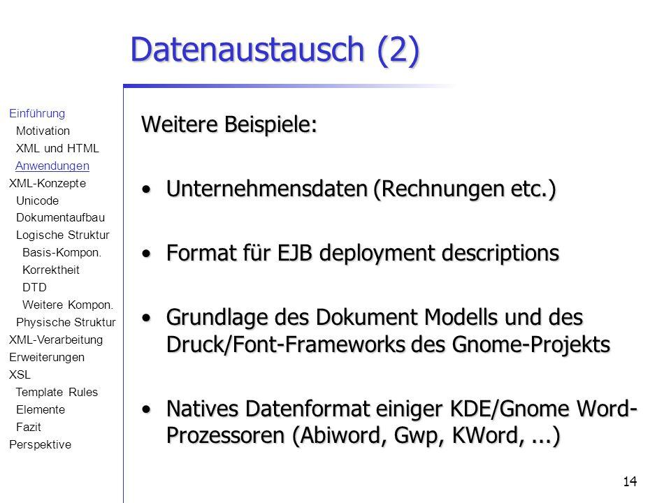 14 Datenaustausch (2) Weitere Beispiele: Unternehmensdaten (Rechnungen etc.)Unternehmensdaten (Rechnungen etc.) Format für EJB deployment descriptionsFormat für EJB deployment descriptions Grundlage des Dokument Modells und des Druck/Font-Frameworks des Gnome-ProjektsGrundlage des Dokument Modells und des Druck/Font-Frameworks des Gnome-Projekts Natives Datenformat einiger KDE/Gnome Word- Prozessoren (Abiword, Gwp, KWord,...)Natives Datenformat einiger KDE/Gnome Word- Prozessoren (Abiword, Gwp, KWord,...) Einführung Motivation XML und HTML Anwendungen XML-Konzepte Unicode Dokumentaufbau Logische Struktur Basis-Kompon.