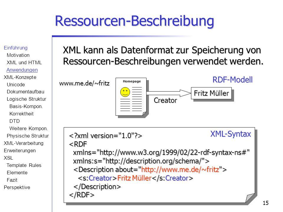 15 Ressourcen-Beschreibung XML kann als Datenformat zur Speicherung von Ressourcen-Beschreibungen verwendet werden. Creator www.me.de/~fritz <RDF xmln