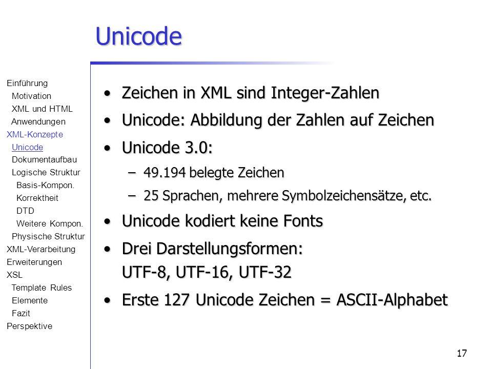 17 Unicode Zeichen in XML sind Integer-ZahlenZeichen in XML sind Integer-Zahlen Unicode: Abbildung der Zahlen auf ZeichenUnicode: Abbildung der Zahlen auf Zeichen Unicode 3.0:Unicode 3.0: –49.194 belegte Zeichen –25 Sprachen, mehrere Symbolzeichensätze, etc.