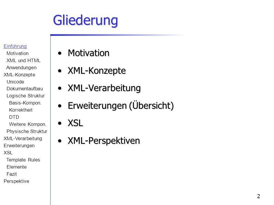 2 Gliederung MotivationMotivation XML-KonzepteXML-Konzepte XML-VerarbeitungXML-Verarbeitung Erweiterungen (Übersicht)Erweiterungen (Übersicht) XSLXSL