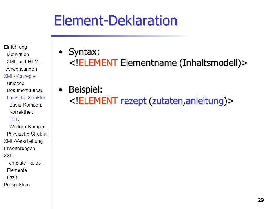 29 Element-Deklaration Syntax: Syntax: Beispiel: Beispiel: Einführung Motivation XML und HTML Anwendungen XML-Konzepte Unicode Dokumentaufbau Logische Struktur Basis-Kompon.