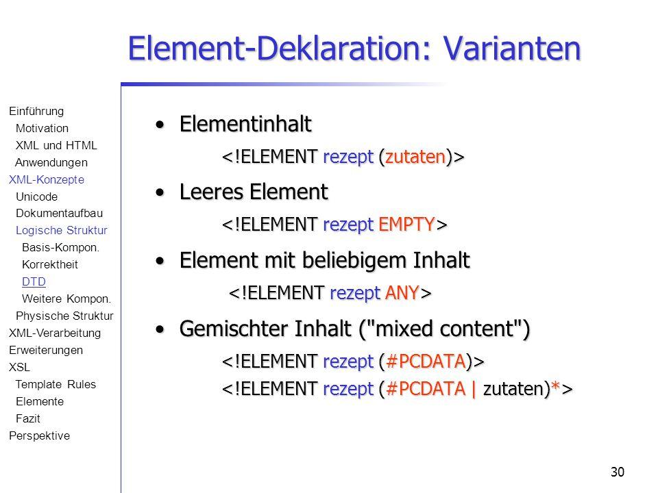 30 Element-Deklaration: Varianten Elementinhalt Elementinhalt Leeres Element Leeres Element Element mit beliebigem Inhalt Element mit beliebigem Inhalt Gemischter Inhalt ( mixed content ) Gemischter Inhalt ( mixed content ) Einführung Motivation XML und HTML Anwendungen XML-Konzepte Unicode Dokumentaufbau Logische Struktur Basis-Kompon.