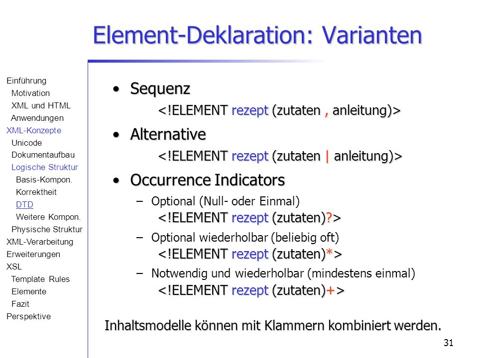 31 Element-Deklaration: Varianten Sequenz Sequenz Alternative Alternative Occurrence IndicatorsOccurrence Indicators – –Optional (Null- oder Einmal) –