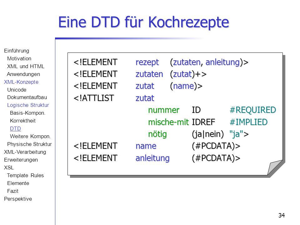 34 Eine DTD für Kochrezepte <!ATTLISTzutat nummerID#REQUIRED mische-mit IDREF#IMPLIED nötig(ja|nein) ja > Einführung Motivation XML und HTML Anwendungen XML-Konzepte Unicode Dokumentaufbau Logische Struktur Basis-Kompon.
