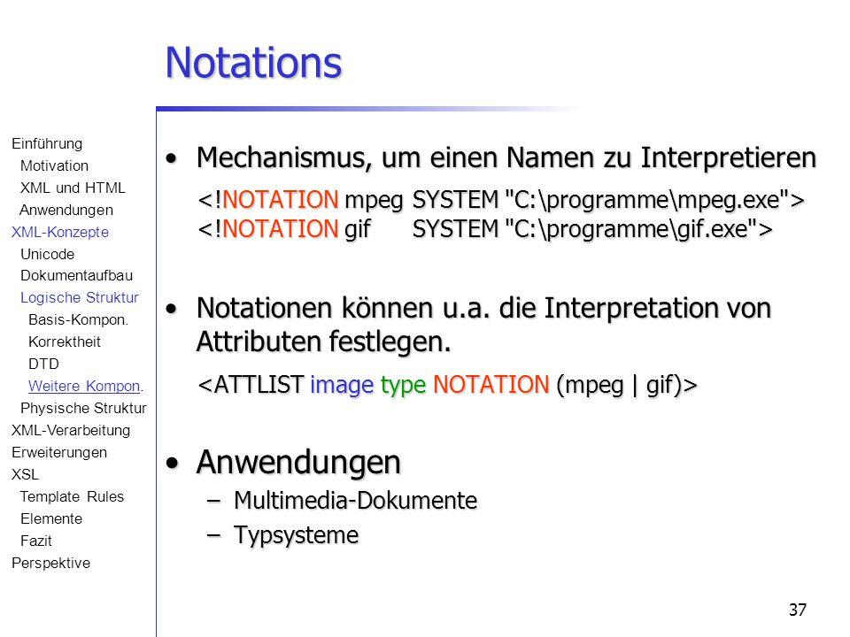37 Notations Mechanismus, um einen Namen zu InterpretierenMechanismus, um einen Namen zu Interpretieren Notationen können u.a. die Interpretation von