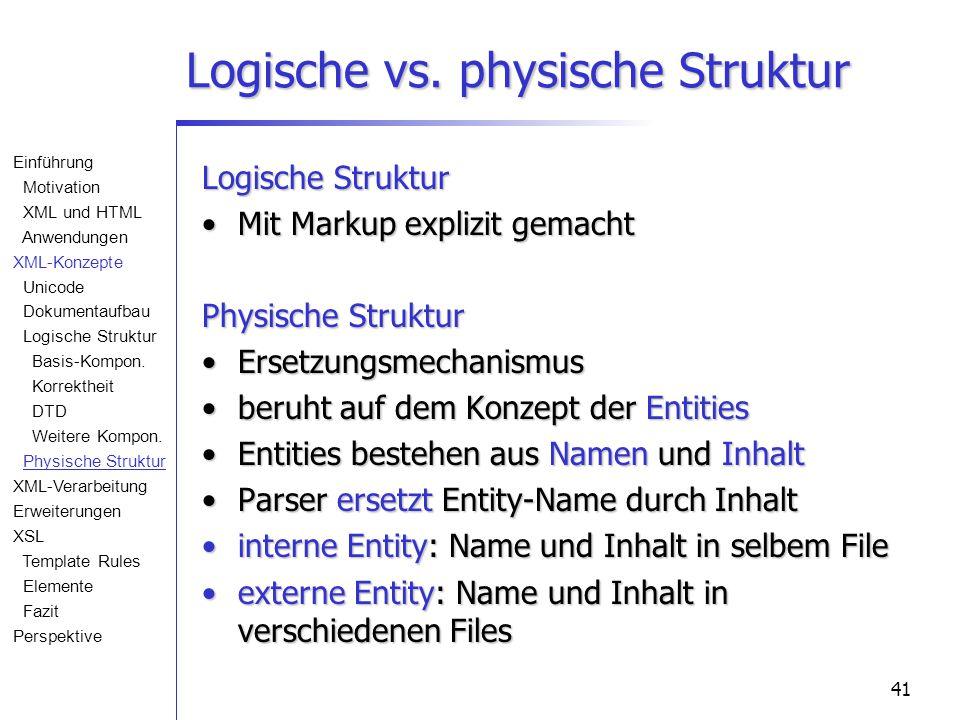 41 Logische vs. physische Struktur Logische Struktur Mit Markup explizit gemachtMit Markup explizit gemacht Physische Struktur ErsetzungsmechanismusEr