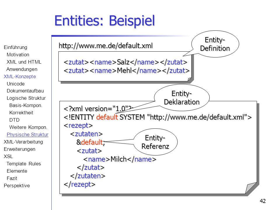 42 Entities: Beispiel Salz Salz Mehl Mehl http://www.me.de/default.xml &default; &default; Milch Milch Entity-Definition Entity-Deklaration Entity-Referenz Einführung Motivation XML und HTML Anwendungen XML-Konzepte Unicode Dokumentaufbau Logische Struktur Basis-Kompon.