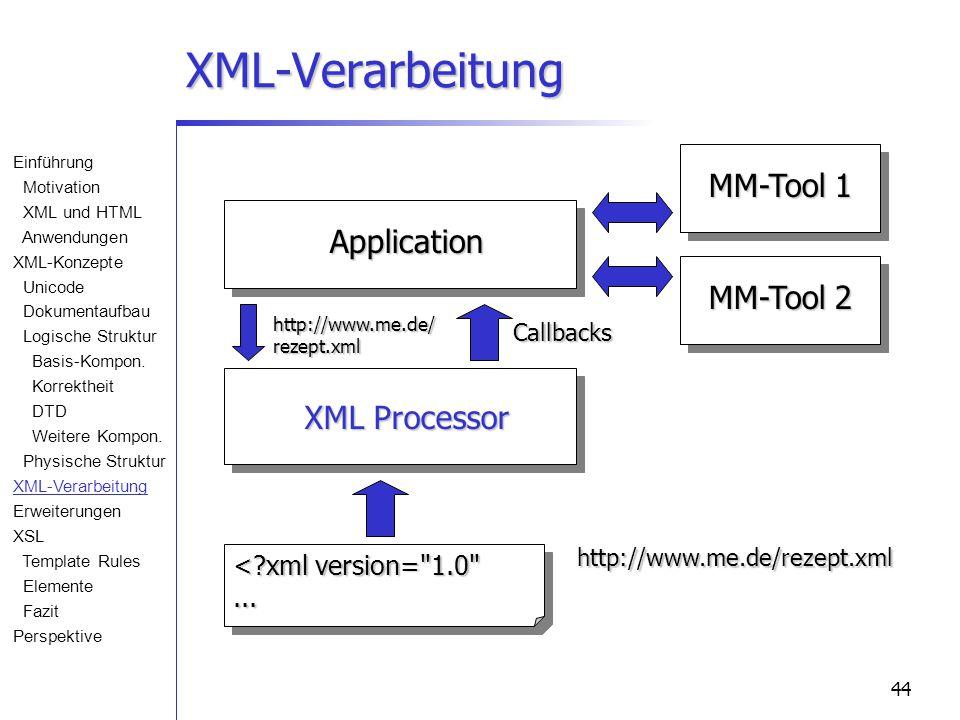 44 XML-Verarbeitung Application MM-Tool 1 MM-Tool 2 XML Processor <?xml version= 1.0 ......