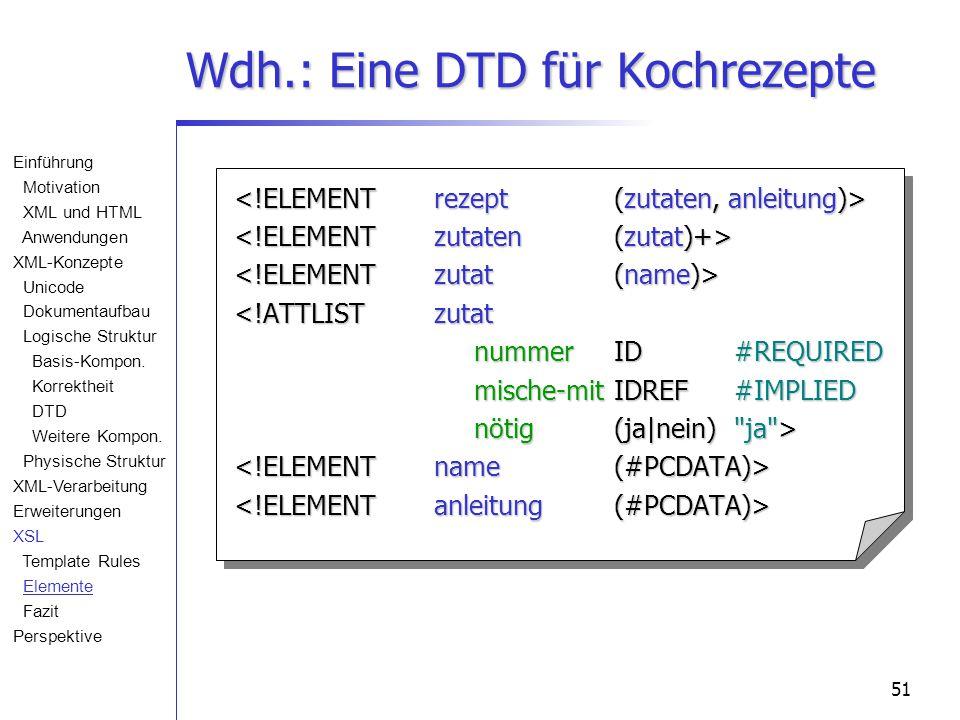 51 Wdh.: Eine DTD für Kochrezepte <!ATTLISTzutat nummerID#REQUIRED mische-mit IDREF#IMPLIED nötig(ja|nein) ja > Einführung Motivation XML und HTML Anwendungen XML-Konzepte Unicode Dokumentaufbau Logische Struktur Basis-Kompon.