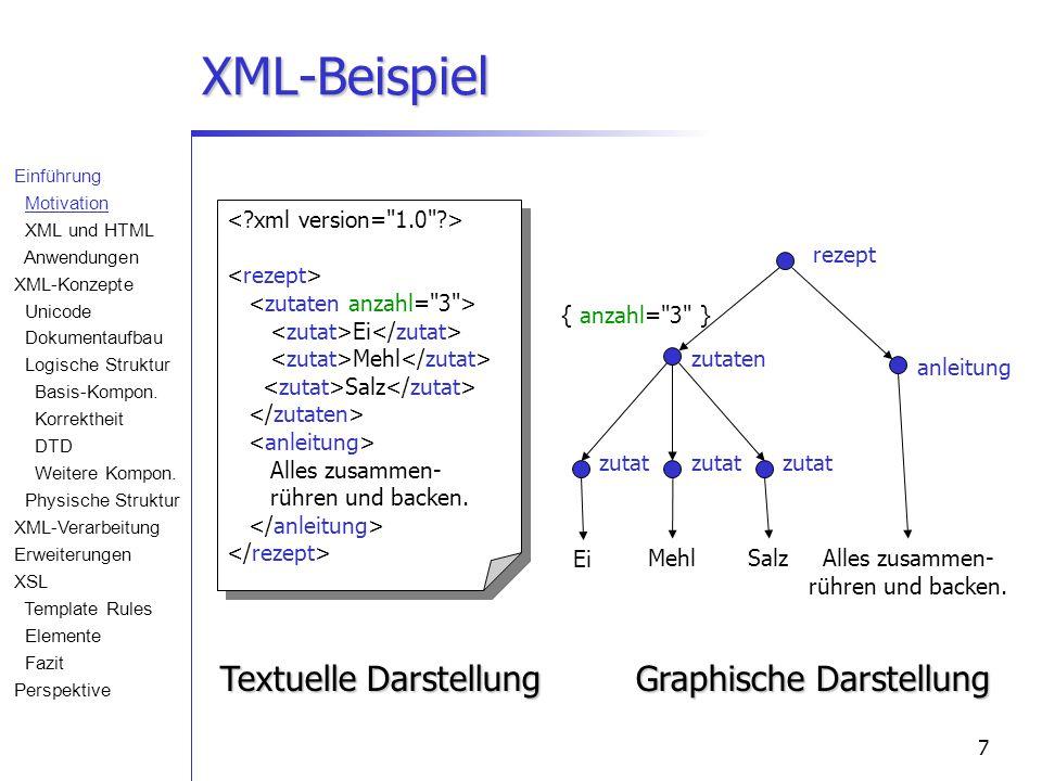 7 XML-Beispiel Ei Mehl Salz Alles zusammen- rühren und backen. Textuelle Darstellung Ei MehlSalzAlles zusammen- rühren und backen. rezept zutaten anle