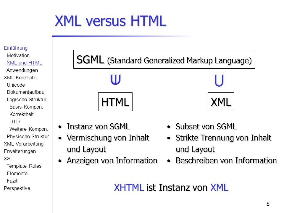 8 XML versus HTML SGML (Standard Generalized Markup Language) HTMLXML   Instanz von SGML Instanz von SGML Vermischung von Inhalt und Layout Vermischung von Inhalt und Layout Anzeigen von Information Anzeigen von Information Subset von SGML Subset von SGML Strikte Trennung von Inhalt und LayoutStrikte Trennung von Inhalt und Layout Beschreiben von Information Beschreiben von Information XHTML ist Instanz von XML Einführung Motivation XML und HTML Anwendungen XML-Konzepte Unicode Dokumentaufbau Logische Struktur Basis-Kompon.