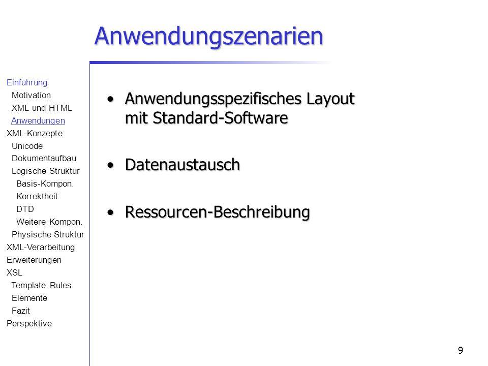 9 Anwendungszenarien Anwendungsspezifisches Layout mit Standard-SoftwareAnwendungsspezifisches Layout mit Standard-Software DatenaustauschDatenaustausch Ressourcen-BeschreibungRessourcen-Beschreibung Einführung Motivation XML und HTML Anwendungen XML-Konzepte Unicode Dokumentaufbau Logische Struktur Basis-Kompon.