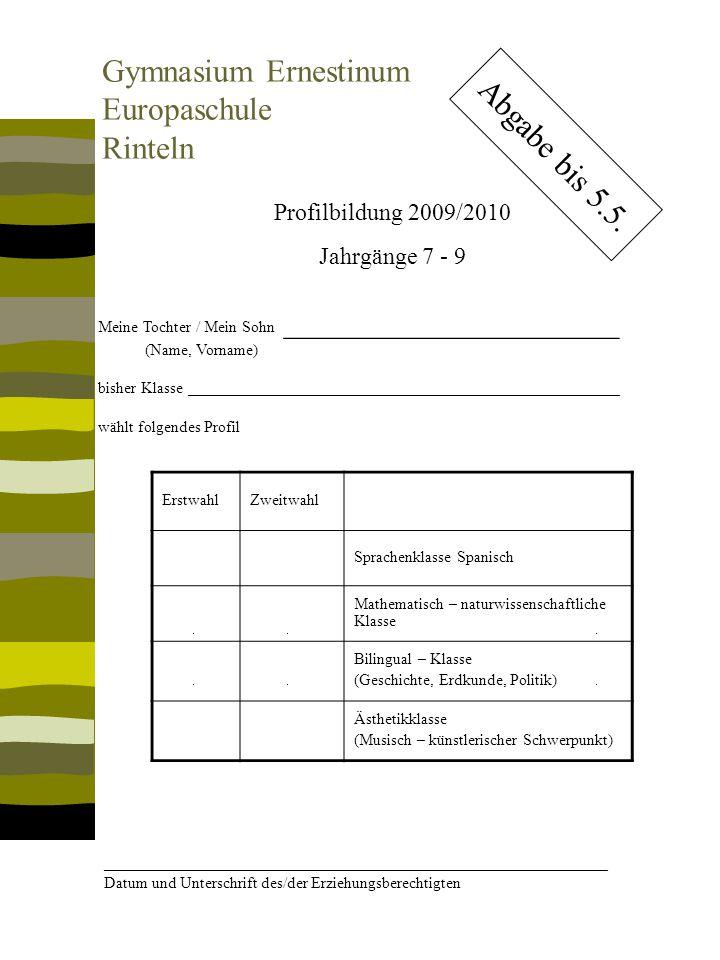 Kontakt: Gymnasium Ernestinum Paul-Erdniß-Str.