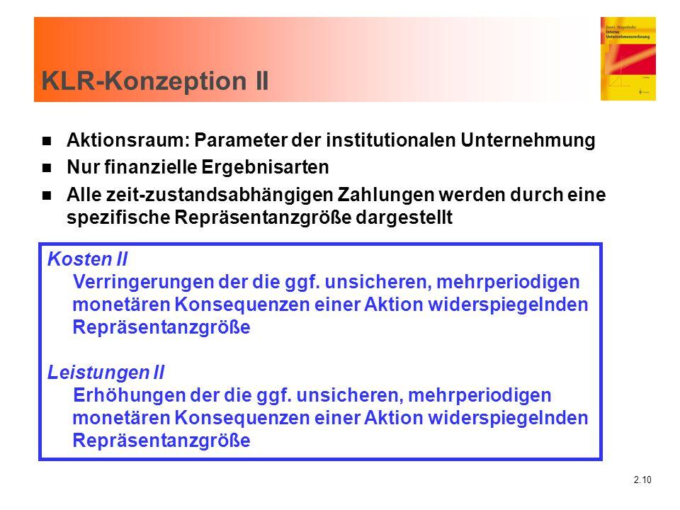2.10 KLR-Konzeption II n Aktionsraum: Parameter der institutionalen Unternehmung n Nur finanzielle Ergebnisarten n Alle zeit-zustandsabhängigen Zahlun