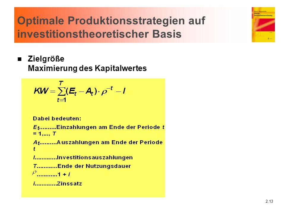 2.13 Optimale Produktionsstrategien auf investitionstheoretischer Basis n Zielgröße Maximierung des Kapitalwertes
