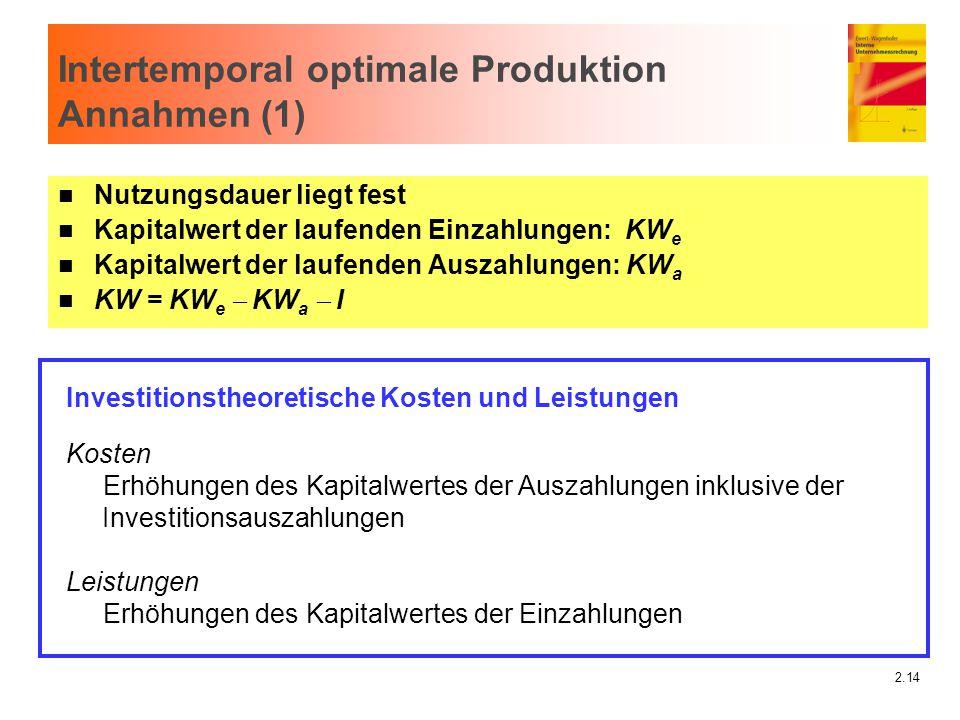 2.14 Intertemporal optimale Produktion Annahmen (1) n Nutzungsdauer liegt fest n Kapitalwert der laufenden Einzahlungen: KW e n Kapitalwert der laufen