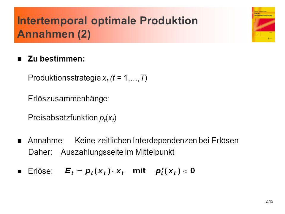 2.15 Intertemporal optimale Produktion Annahmen (2) n Zu bestimmen: Produktionsstrategie x t (t = 1,...,T) Erlöszusammenhänge: Preisabsatzfunktion p t