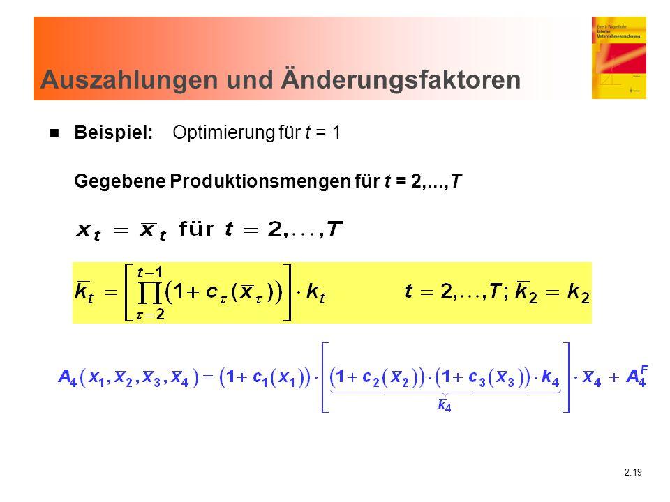 2.19 Auszahlungen und Änderungsfaktoren n Beispiel: Optimierung für t = 1 Gegebene Produktionsmengen für t = 2,...,T