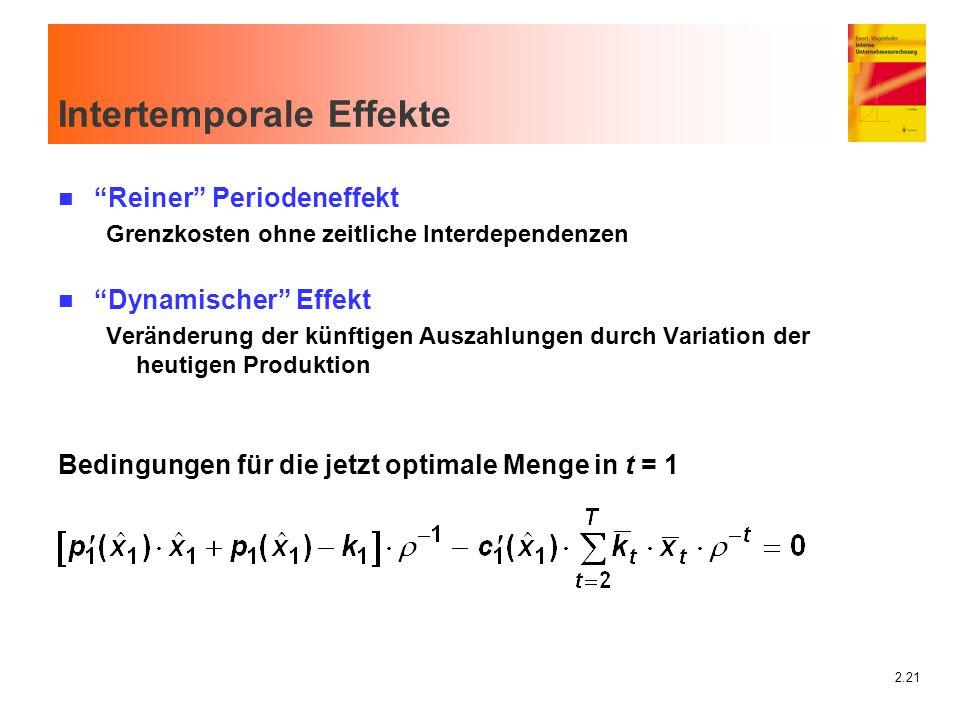 """2.21 Intertemporale Effekte n """"Reiner"""" Periodeneffekt Grenzkosten ohne zeitliche Interdependenzen n """"Dynamischer"""" Effekt Veränderung der künftigen Aus"""