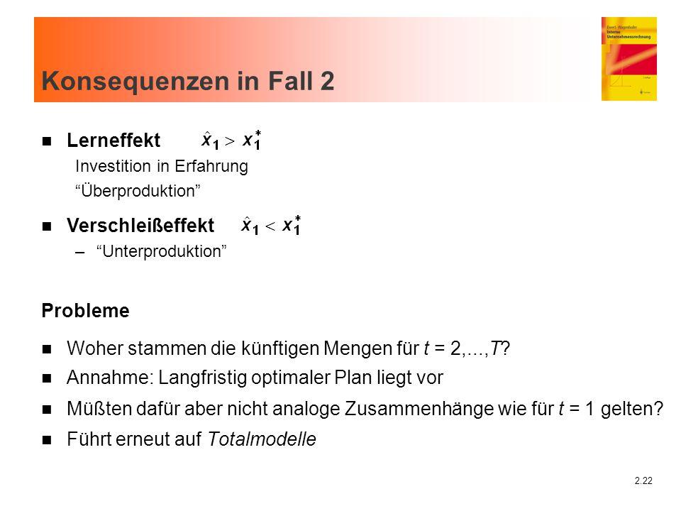 """2.22 Konsequenzen in Fall 2 n Lerneffekt Investition in Erfahrung """"Überproduktion"""" Probleme n Woher stammen die künftigen Mengen für t = 2,...,T? n An"""