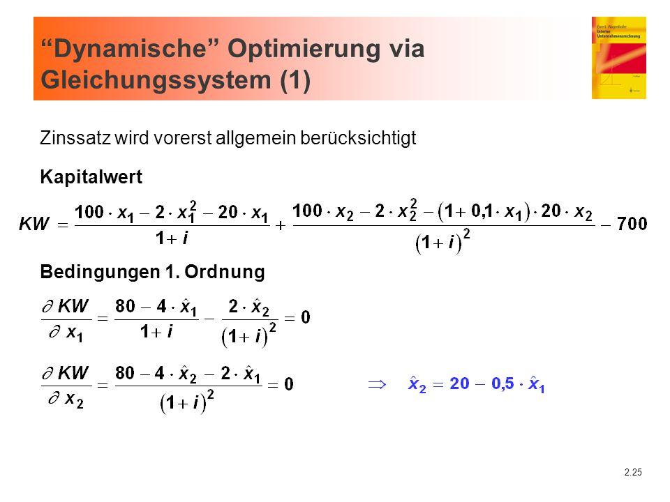 """2.25 """"Dynamische"""" Optimierung via Gleichungssystem (1) Zinssatz wird vorerst allgemein berücksichtigt Kapitalwert Bedingungen 1. Ordnung"""