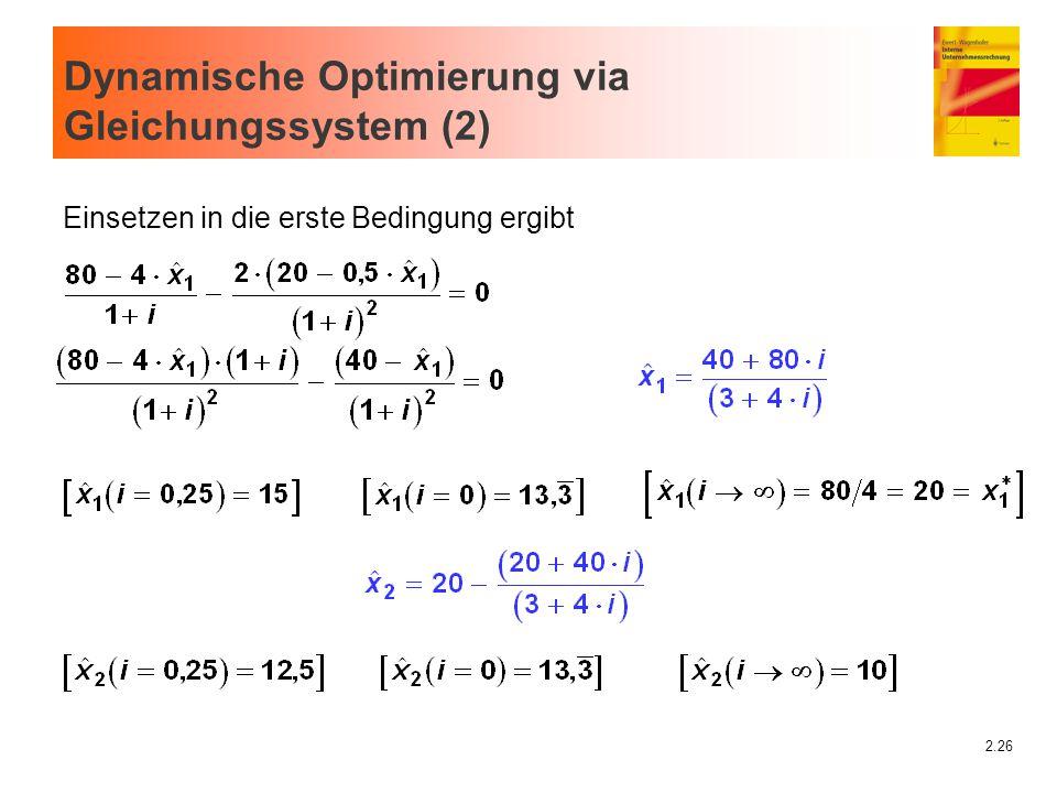 2.26 Dynamische Optimierung via Gleichungssystem (2) Einsetzen in die erste Bedingung ergibt