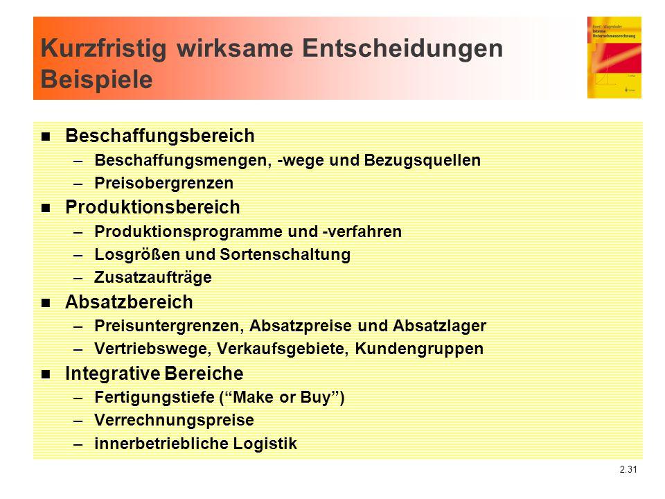2.31 Kurzfristig wirksame Entscheidungen Beispiele n Beschaffungsbereich –Beschaffungsmengen, -wege und Bezugsquellen –Preisobergrenzen n Produktionsb