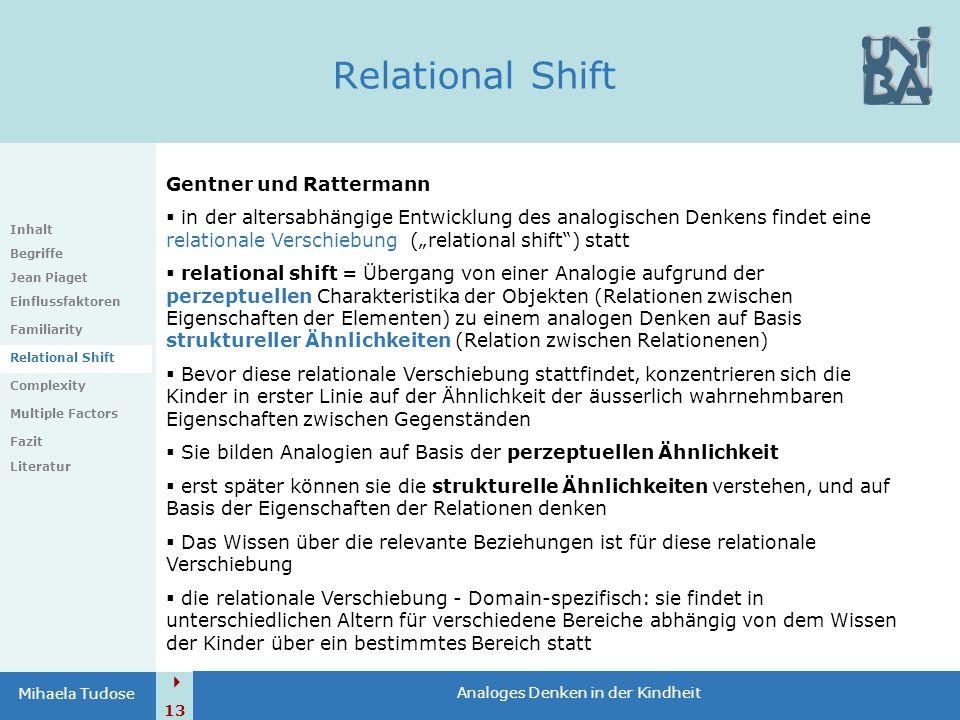  13 Analoges Denken in der Kindheit Mihaela Tudose Relational Shift Inhalt Begriffe Jean Piaget Einflussfaktoren Familiarity Relational Shift Complex