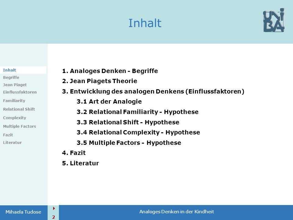  2 Mihaela Tudose Inhalt Begriffe Jean Piaget Einflussfaktoren Familiarity Relational Shift Complexity Multiple Factors Fazit Literatur 1. Analoges D