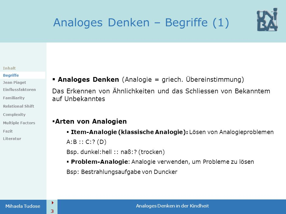  3 Analoges Denken in der Kindheit Mihaela Tudose Analoges Denken – Begriffe (1) Inhalt Begriffe Jean Piaget Einflussfaktoren Familiarity Relational Shift Complexity Multiple Factors Fazit Literatur  Analoges Denken (Analogie = griech.