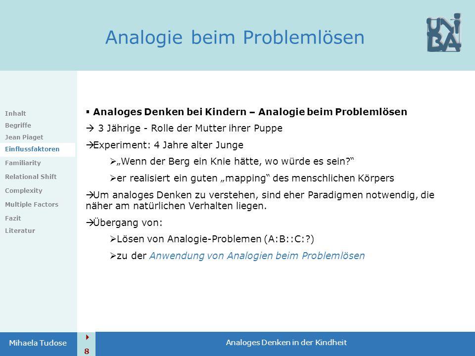  8 Analoges Denken in der Kindheit Mihaela Tudose Analogie beim Problemlösen Inhalt Begriffe Jean Piaget Einflussfaktoren Familiarity Relational Shif