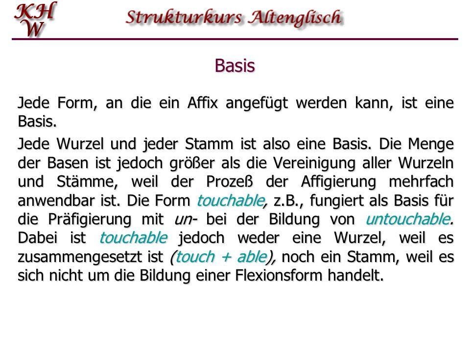 Basis Jede Form, an die ein Affix angefügt werden kann, ist eine Basis. Jede Wurzel und jeder Stamm ist also eine Basis. Die Menge der Basen ist jedoc