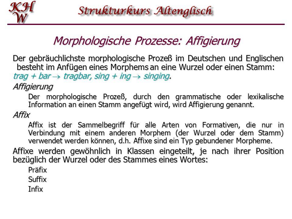 Morphologische Prozesse: Affigierung Der gebräuchlichste morphologische Prozeß im Deutschen und Englischen besteht im Anfügen eines Morphems an eine W