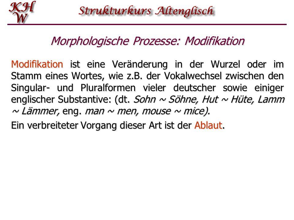 Morphologische Prozesse: Modifikation Modifikation ist eine Veränderung in der Wurzel oder im Stamm eines Wortes, wie z.B. der Vokalwechsel zwischen d
