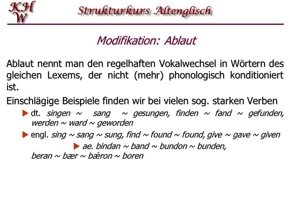 Modifikation: Ablaut Ablaut nennt man den regelhaften Vokalwechsel in Wörtern des gleichen Lexems, der nicht (mehr) phonologisch konditioniert ist. Ei