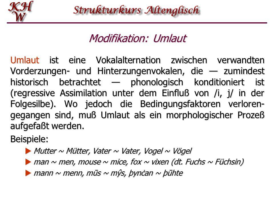 Modifikation: Umlaut Umlaut ist eine Vokalalternation zwischen verwandten Vorderzungen ‑ und Hinterzungenvokalen, die — zumindest historisch betrachte