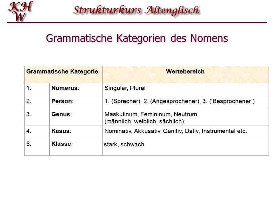 Grammatische Kategorien des Nomens Die verschiedenen Wortformen eines Paradigmas gehören also zu Unterklassen, die (Sekundäre) [1] grammatische Kateg