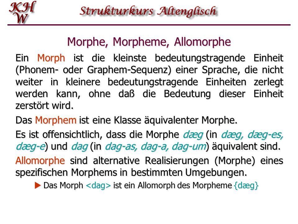 Morphologische Prozesse: Affigierung Der gebräuchlichste morphologische Prozeß im Deutschen und Englischen besteht im Anfügen eines Morphems an eine Wurzel oder einen Stamm: trag + bar  tragbar, sing + ing  singing.
