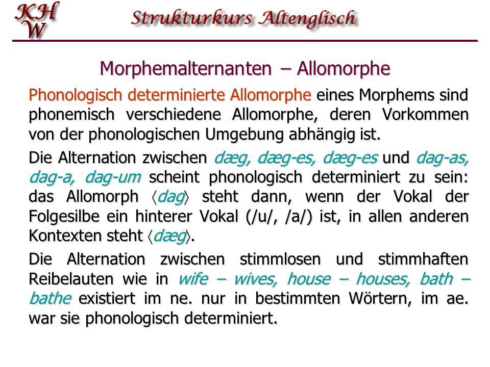 Morphemalternanten – Allomorphe Phonologisch determinierte Allomorphe eines Morphems sind phonemisch verschiedene Allomorphe, deren Vorkommen von der