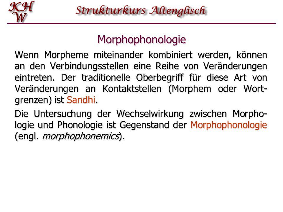 Morphophonologie Wenn Morpheme miteinander kombiniert werden, können an den Verbindungsstellen eine Reihe von Veränderungen eintreten. Der traditionel