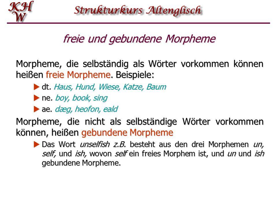 freie und gebundene Morpheme Morpheme, die selbständig als Wörter vorkommen können heißen freie Morpheme. Beispiele:  dt. Haus, Hund, Wiese, Katze, B