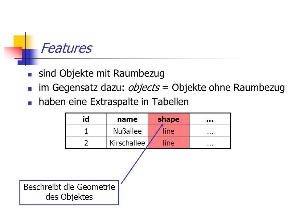 Features sind Objekte mit Raumbezug im Gegensatz dazu: objects = Objekte ohne Raumbezug haben eine Extraspalte in Tabellen idnameshape... 1Nußalleelin