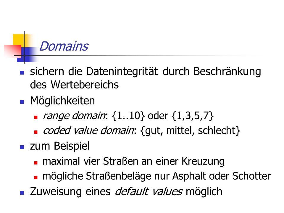 Domains sichern die Datenintegrität durch Beschränkung des Wertebereichs Möglichkeiten range domain: {1..10} oder {1,3,5,7} coded value domain: {gut,
