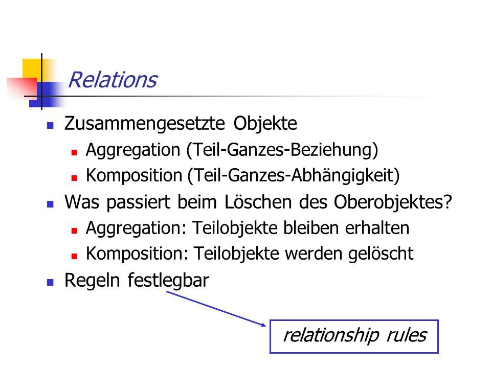 Relations Zusammengesetzte Objekte Aggregation (Teil-Ganzes-Beziehung) Komposition (Teil-Ganzes-Abhängigkeit) Was passiert beim Löschen des Oberobjekt