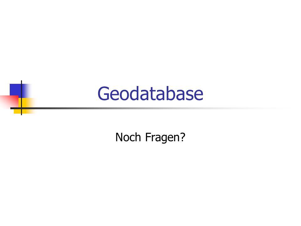 Geodatabase Noch Fragen?
