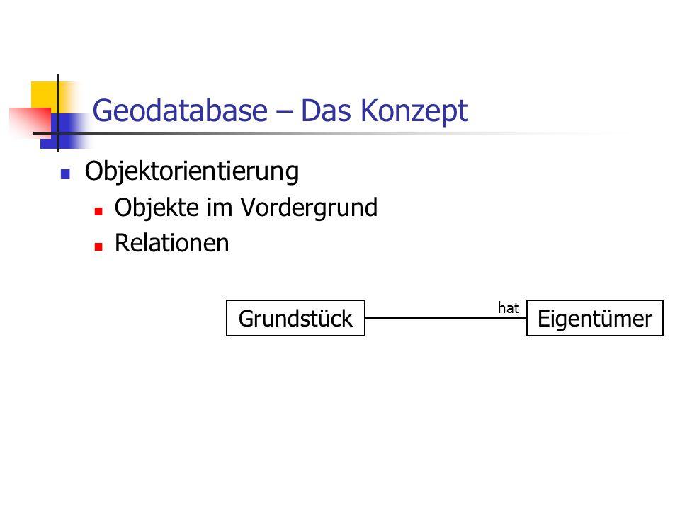 Geodatabase – Das Konzept Einfache Modellierung von Objekten Einfache Implementierung von Verhalten Automatische Integritätsprüfung Nutzung kommerzieller Datenbanksysteme Objektorientierung Objekte im Vordergrund Relationen Benutzerfreundlichkeit