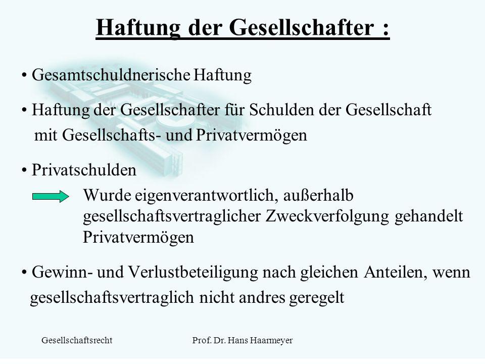 GesellschaftsrechtProf. Dr. Hans Haarmeyer Haftung der Gesellschafter : Gesamtschuldnerische Haftung Haftung der Gesellschafter für Schulden der Gesel