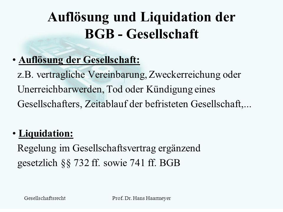 GesellschaftsrechtProf. Dr. Hans Haarmeyer Auflösung und Liquidation der BGB - Gesellschaft Auflösung der Gesellschaft: z.B. vertragliche Vereinbarung